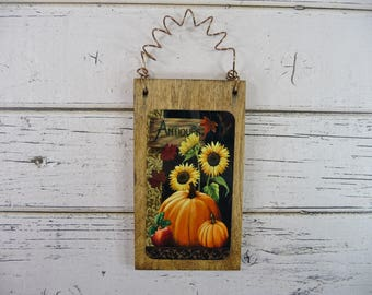 LITTLE WOOD SIGN Ornament Antiques Fall Autumn Halloween Thanksgiving Holiday Tree Decor Home Office Cute Gift Idea Teacher Friend CoWorker