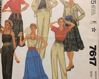 80's Misses' Skirt, Camisole, Pants, and Shirt McCall's 7617 Sewing Pattern  size 12 Bust 34 inches  Sewing Pattern
