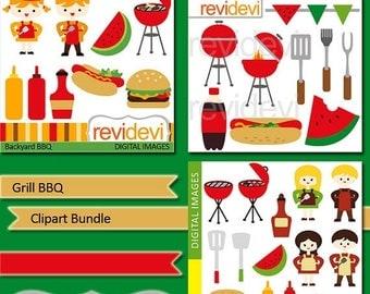 50% OFF SALE Grill BBQ Clip art Bundle - Barbecue digital clipart - hamburger, hotdog, ketchup - commercial use graphic