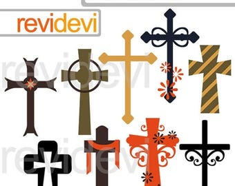 35% OFF SALE Christian crosses clipart - cross clip art - christian religious digital clipart - instant download - commercial use