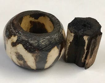 Carved Buffalo Horn Wood Barrel Beads Gambia 22-25mm pkg1 WD2