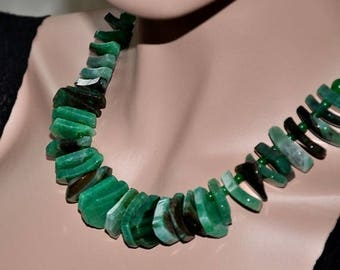Green Necklace, Agate Necklace, Gemstone Jewelry, Green Agate, Statement Necklace, Chunky Jewelry