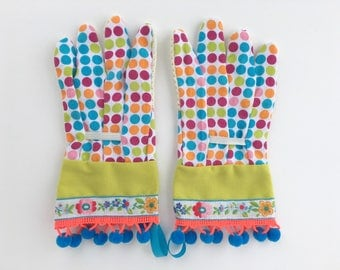 KIDS Designer Garden Gloves. Flowers, Neon Pom Poms. Children's Gardening Work Gloves.