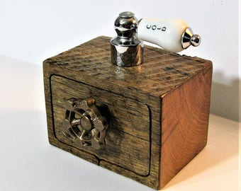 Locking Steampunk Treasure Box With Secret Drawer Made From Antique Barn Wood