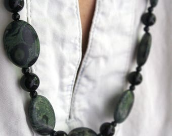 Green Jasper Necklace . Kambaba Jasper Necklace . Chunky Beaded Necklace for Women . Big Stone Necklace for Protection - Gaea Collection