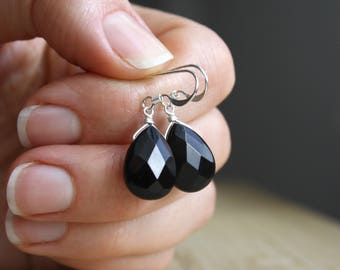 Black Onyx Earrings in Sterling Silver . Silver Black Earrings . Black Teardrop Earrings . Black Dangle Earrings