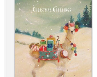 The Northern Christmas Llama Card. SKU JH1129