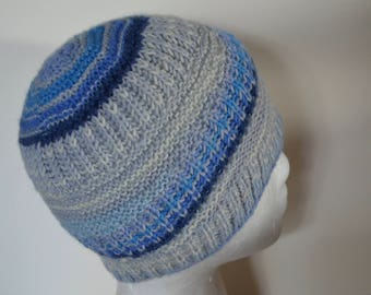 Small Good Hat - Handknit Hat, Blue and Icy White in Durable Wool and Nylon Blend Yarn. Angular Stripes, Brioche Rib Knit Hat Original