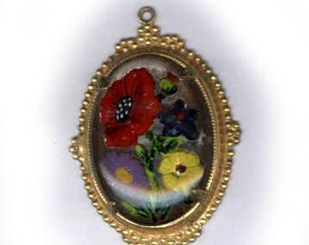 vintage CZECH pendant REVERSE PAINTED colorful flowers set in goldtone setting for easy hanging antique glass pendant bridal finding