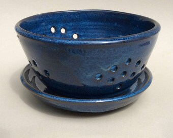 handmade blue berry bowl, colander, drip plate, ceramic, pottery, in stock and ready to ship