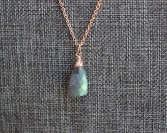 Labradorite Faceted Trillion Rose Gold Dragon Scale Necklace