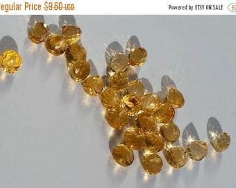 SHOP SALE Citrine Beads Faceted Onion Candy Kiss Briolettes Gemstone Teardrops 5mm to 6mm x 6.5mm, Citrine Tear drops, Natural Orange (4 gem