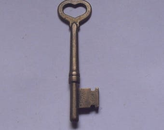 Vintage Brass Heart Skeleton Key