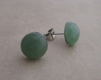 green aventurine earring studs 10mm
