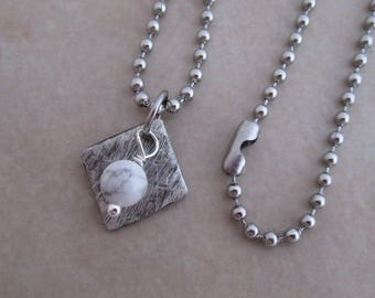 white howlite necklace silver soldered copper girls women