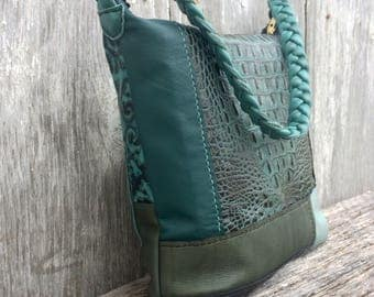 Leather Shoulder Bag in Handmade Patchwork - Alligator Teal  - Black - Blue and Hunter Green Specialty Leathers - Gift for Her - Stacy Leigh