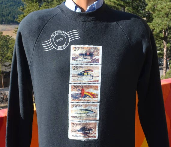 vintage 90s sweatshirt FLY FISHING colorado postage stamp raglan Medium Large preppy 1991