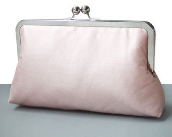 Blush pink clutch purse, dusty pink rose silk bag with chain handle, wedding bridal clutch, bridesmaid gift, candy