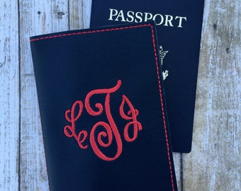 Personalized Passport Cover for Women - Faux Leather Custom Passport Holder - Wanderlust travel accessory gift for Her Monogram