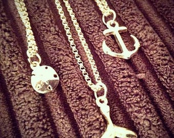 Memorial Day Sale Treasures of the Sea. 14Kt GF Sand dollar, Anchor, and Whale Tail Necklaces You Choose