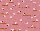 Panorama Sunrise Sheep Coral Pink - Cotton + Steel - 100% cotton quilting fabric by the yard, fat quarters available