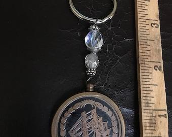 Brass Calendar Key Chain With Beads