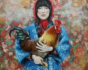 Birds of a Feather original oil classical portrait narrative figurative painting by Kimberly Dow