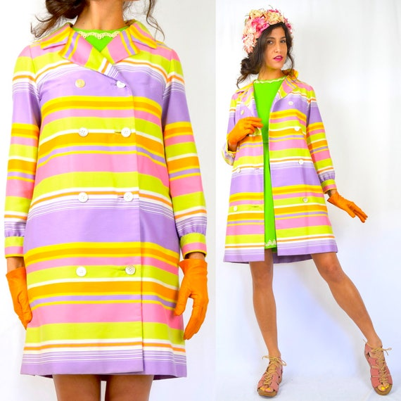 Vintage 60s 70s Pastel Rainbow Striped Trench Coat