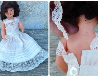 Vintage Antique 1930/30s French celluloid doll /petitcollin doll/miniature/eagle Lovely handmade cotton dress 175 3