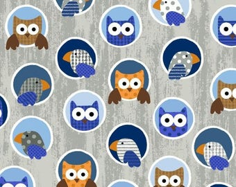 Noah's Story By Swizzle Stick Studio, Grey Blue Owls, Studio E cotton quilting fabric, By the Yard