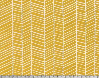 Joel Dewberry Fabric, True Colors Collection, Herringbone in Straw Yellow, cotton quilting fabric -  HALF YARD