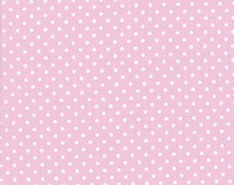 YARD - Tanya Whelan Fabric, Delilah, Pink Dots, White, Polka Dots, cotton quilting fabric
