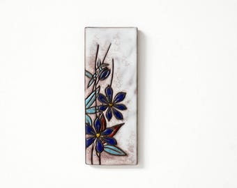 RUSCHA ceramic wall hanging, white series, blue floral decor, West German pottery, Mid Century Modern home decor