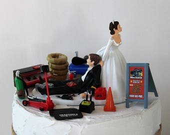 Humorous Wedding Cake Topper, Funny Mechanic Grooms Cake Topper, Garage-Man Cave-Car Tire-Repair Shop- Unique Bride and Groom Cake Topper