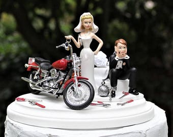 Motorcycle Wedding Cake Topper, Bride and Groom, Harley Davidson Cake Topper-Funny-Red 1997 Low Rider-Mechanic-Grooms Cake-Ball and Chain