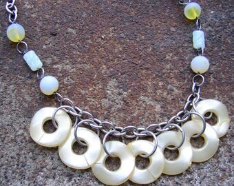 Eco-Friendly Statement Necklace - Lemon Zest  - Recycled Vintage Chain and Clasp, Glass Beads, Pearlized Wavy Disks in Pale Yellow and White