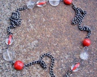 Eco-Friendly Statement Necklace - Fire and Ice - Recycled Vintage Dark Steel Curb Chain and Beads in Bright Poppy Red and Clear