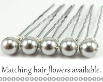Grey Pearl Hair Pins - 8mm Grey Swarovski Pearls (5 qty) - FLAT RATE SHIPPING