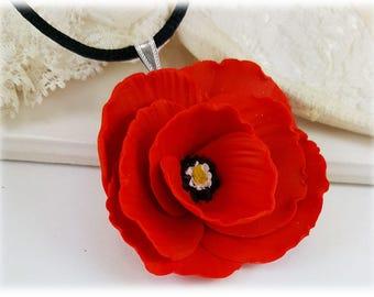 Large Poppy Choker Necklace - Black Cord Large Poppy Necklace, Poppy Jewelry