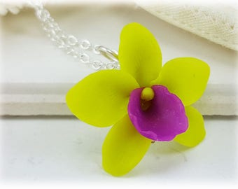 Green Orchid Necklace - Green Orchid Pendant Necklace, Green Orchid Jewelry