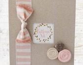 Baby Memory Book Ready to Ship! Blush Pink Stripe Vintage Boho