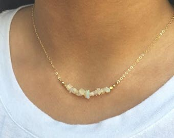 MEMORIAL DAY SALE Opal Bar Necklace Dainty Layering Necklace Gold Fill Opal Jewelry Bridesmaids Gift Ethiopian Opal Necklace