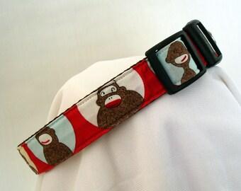 Sock Monkeys - Medium Dog Collar - 1 Inch Wide - Adjustable Between 12-19 Inches - Sock Monkey - Westie - Scottie - Beagle - READY TO SHIP