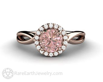 Pink Sapphire Engagement Ring Diamond Halo Pink Champagne Sapphire Ring Infinity Style 14K or 18K Gold or Platinum