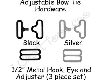 "50 Small Sets Adjustable Bow Tie Hardware Fastener Clips - 1/2"" Rounded Edge Slide Adjuster*, Hook, Eye - Black or Silver Metal - SEE COUPON"