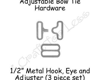 "50 Sets Small Adjustable Bow Tie Hardware Fastener Clips - 1/2"" Rounded Edge Slide Adjuster*, Hook and Eye - Silver Metal - SEE COUPON"