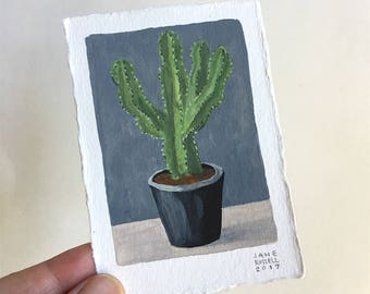 Cactus No. 3 Tiny Original Watercolor Painting Free Shipping