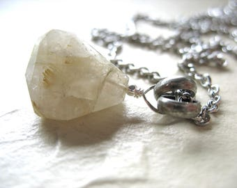 Rutilated Quartz Crystal Necklace, Rutilated Quartz Faceted Stone Pendant Gemstone Necklace, Handmade Artisan Jewelry, Pendant Necklace
