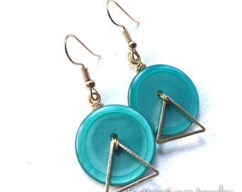 Geometric Aqua Button Earrings with Gold Triangles