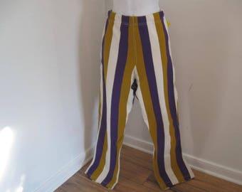 Vintage Pants Striped Stretch Pants Gold Purple and White Stretchy Pants sz 34